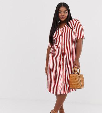 Junarose stripe button through mini dress-Red