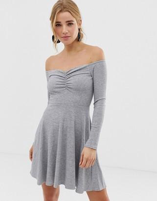 New Look ribbed long sleeve bardot dress-Grey