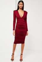 Missguided Burgundy Ruched Plunge Neck Midi Dress