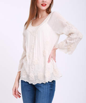 Couture Simply Women's Blouses Beige - Beige Lace Three-Quarter Sleeve Top - Women & Plus
