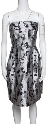 Carolina Herrera Silver and Black Floral Jacquard Strapless Dress S
