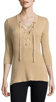 MICHAEL Michael Kors Ribbed Lace-Up Tunic Sweater