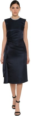 Alexander McQueen Duchesse Embellished Draped Midi Dress