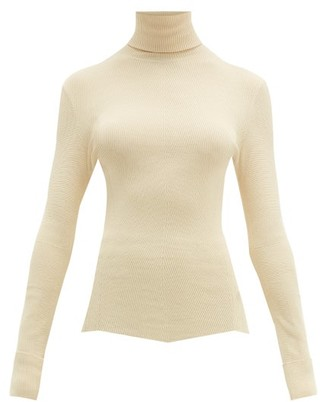 Bottega Veneta Roll-neck Chevron Stretch-knit Sweater - Womens - Cream