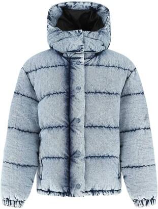 Miu Miu Denim Finish Hooded Puffer Jacket