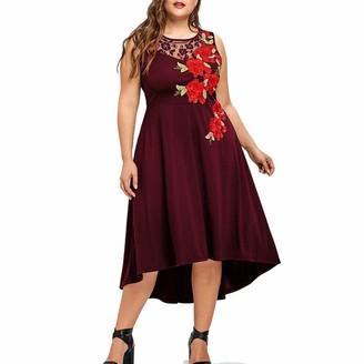 AOGOTO Women Plus Size O-Neck Appliques Zipper Sleeveless Mesh Dress Party Cocktail Evening Prom Elegant Dresses Wine