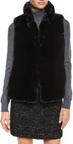 Milly Stand-Collar Faux-Fur Vest, Black