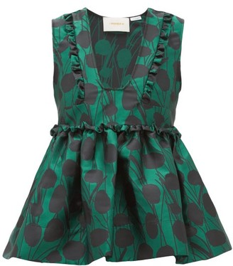 La DoubleJ Casati Peplum Satin-jacquard Top - Green Print