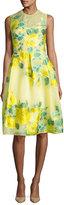 Lela Rose Grace Floral Fil Coupe Full-Skirt Dress, Yellow