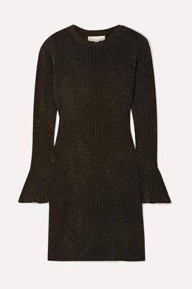 MICHAEL Michael Kors Ribbed Lurex Mini Dress - Black