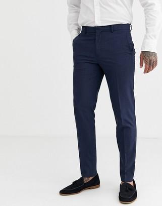 Burton Menswear slim smart trousers in navy & red check