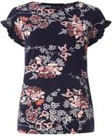 Dorothy Perkins Navy Floral Frill Sleeve T-Shirt