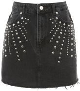 Topshop Moto studded denim mini skirt