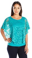 Notations Women's Petite Lace Ponco with Solid Under Piece