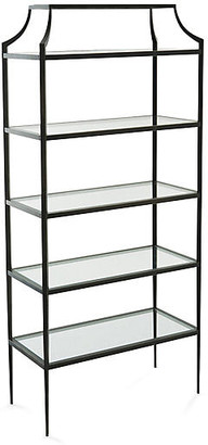 Global Views Lescot Etagere - Gunmetal frame, gunmetal; glass, clear