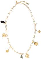 Oscar de la Renta Short Antiqued Pin Charm Necklace