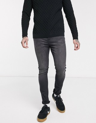 LDN DNM super skinny fit jeans in washed black