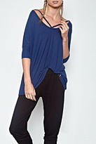 Michael Lauren Cut Out V Neck Top