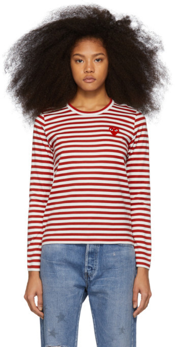 deed1375 Red and White Striped Heart Patch Long Sleeve T-Shirt