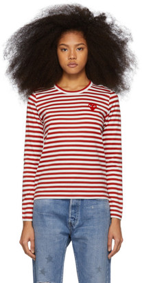 Comme des Garcons Red and White Striped Heart Patch Long Sleeve T-Shirt