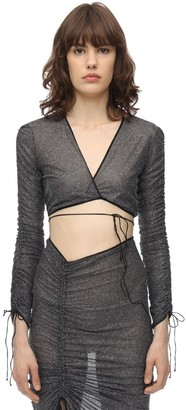 Oseree CROPPED LONG SLEEVE LUREX WRAP TOP
