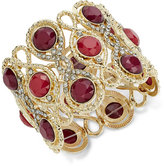 INC International Concepts Gold-Tone Wine-Colored and Pavé Decorative Stretch Bracelet, Only at Macy's