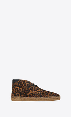Saint Laurent Laced Espadrilles In Leopard-print Suede Natural 5