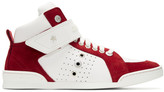 Jimmy Choo White & Red Lewis High-Top Sneakers