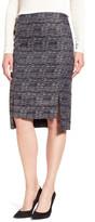 Halogen Side Slit Step Hem Tweed Pencil Skirt (Petite)