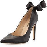Neiman Marcus Verity Leather Bow Pump, Black