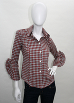 Alicia Bell 3/4 Sleeve Pleated Cuff Shirt in Red Plaid