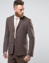 Asos Slim Suit Jacket in Brown Herringbone