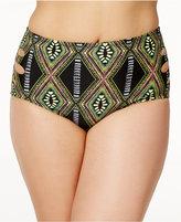 Raisins Curve Plus Size Kololi Printed Mid-Rise Side Cutout Bikini Briefs Women's Swimsuit