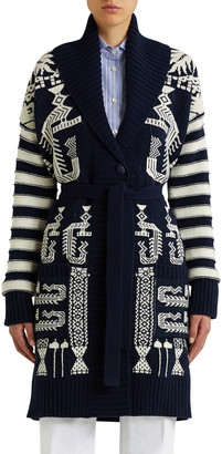 Etro Printed Ribbed-Knit Belted Sweater Coat