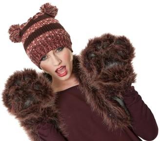 I Smalls New For Autumn Winter Ladies Novelty Beanie Teddy Pom Pom Hat With Ears Berry Stripe