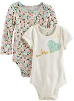 "Baby Starters Baby Girl 2-pk. Geometric Print & ""Love"" Graphic Bodysuits"