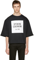 Opening Ceremony Black Logo Cut-Off Sweat T-Shirt