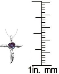 """V3 Designs Sterling Silver with Color Changing Alexandrite Cross Pendant with 18""""Chain"""
