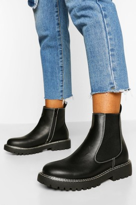 boohoo Double Stitch Detail Chunky Chelsea Boots