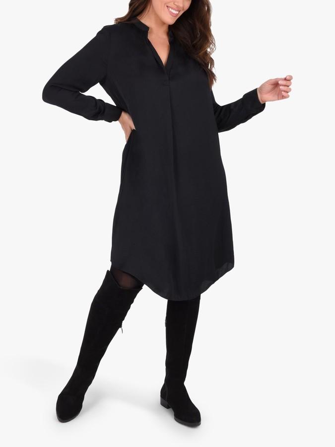Live Unlimited Curve Gathered Neck Dress, Black
