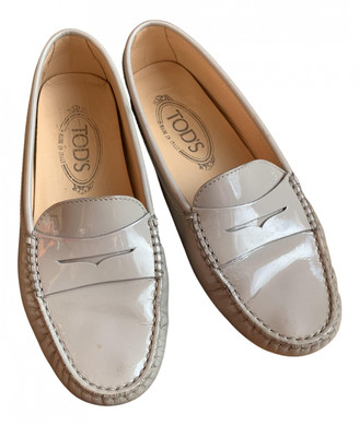 Tod's Gommino Grey Patent leather Flats