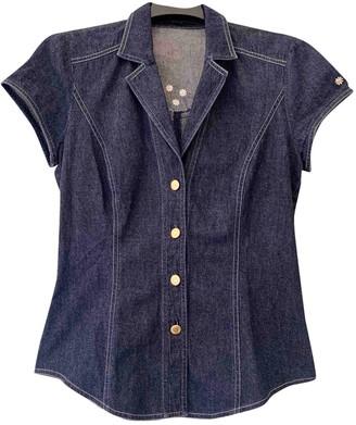 Escada Navy Cotton Top for Women Vintage