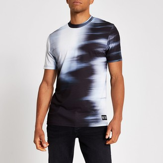 River Island White slim fit fade print T-shirt