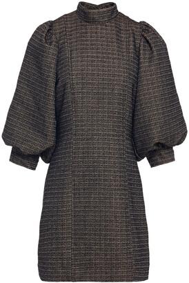 Ganni Gathered Tweed Mini Dress