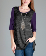 Aster Gray & Purple Scoop-Neck Swing Tunic - Plus Too