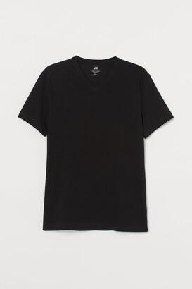 H&M Slim Fit V-neck T-shirt - Black