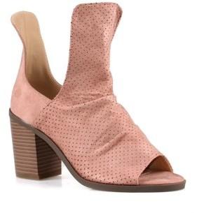 Nature Breeze Block Heel Women's Peep Toe Booties in Pink