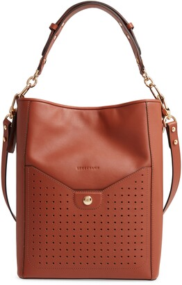 Longchamp Mademoiselle Perforated Calfskin Leather Bucket Bag