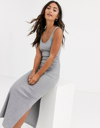 French Connection jersey rib midi dress-Grey