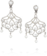 Kenneth Jay Lane Silver-tone crystal and faux pearl clip earrings